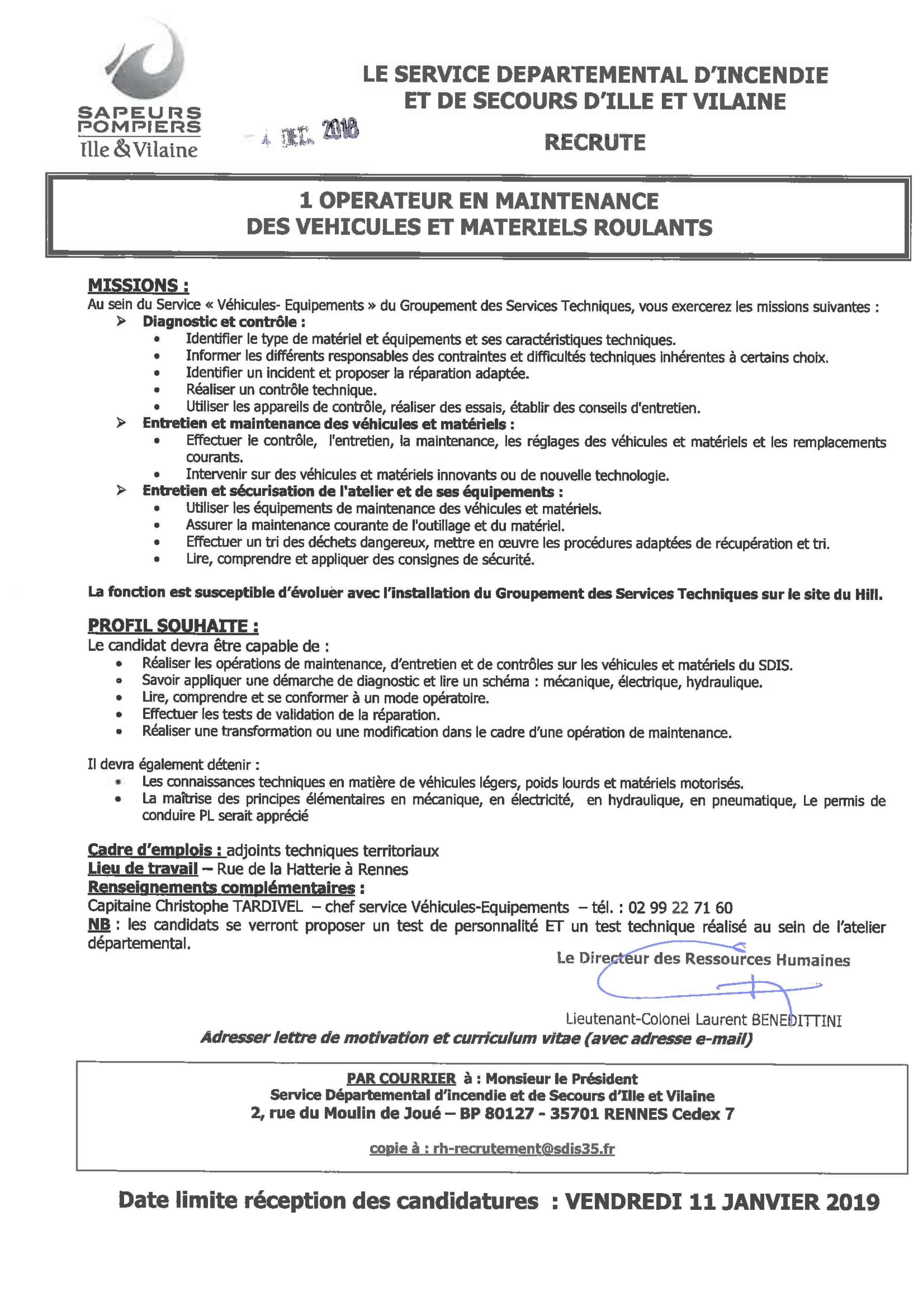 20181204 Opérateur Maintenance Véhicule Sdis 35